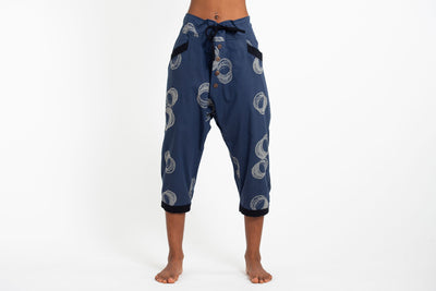 Circles Women's Harem Pants with Faux Buttons in Navy