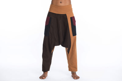 Patchwork Cotton Women's Harem Pants in Brown