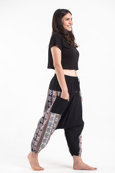Elephant Aztec Cotton Women's Harem Pants in Black