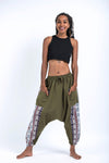 Elephant Aztec Cotton Women's Harem Pants in Green