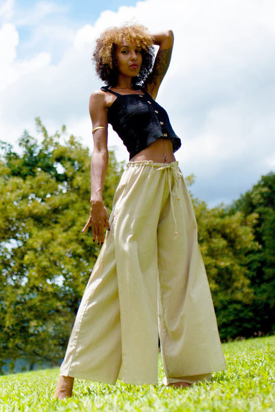 Women's Thai Harem Double Layers Palazzo Pants in Solid Natural