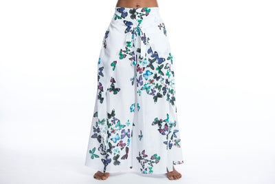 Women's Cotton Wrap Palazzo Pants in Butterflies Turquoise