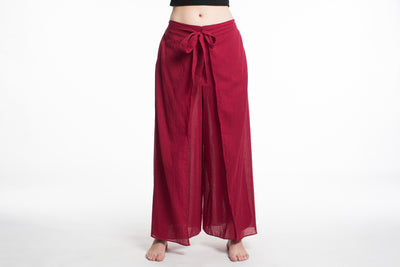 Women's Cotton Wrap Palazzo Pants in Solid Red