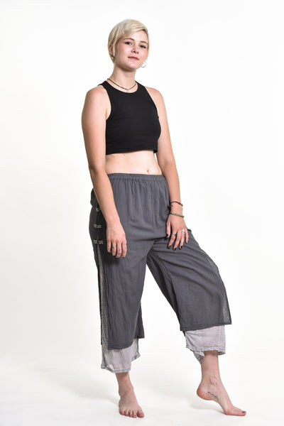 Women's Cotton Double Layers Cropped Pants in Solid Gray