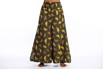 Leaves Women's Cotton Palazzo Pants in Green