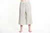 Women's Crinkled Cotton Cropped Pants in Solid White