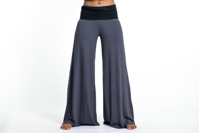 Wide Leg Palazzo Harem Pants Cotton Spandex in Solid Gray