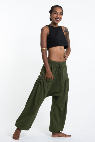Cotton Women Harem Pants in Solid Green