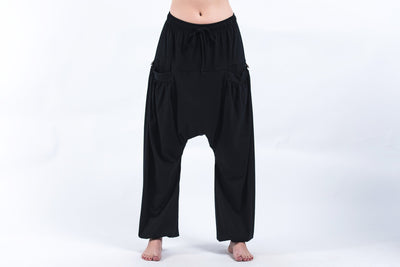 Cotton Women Harem Pants in Solid Black