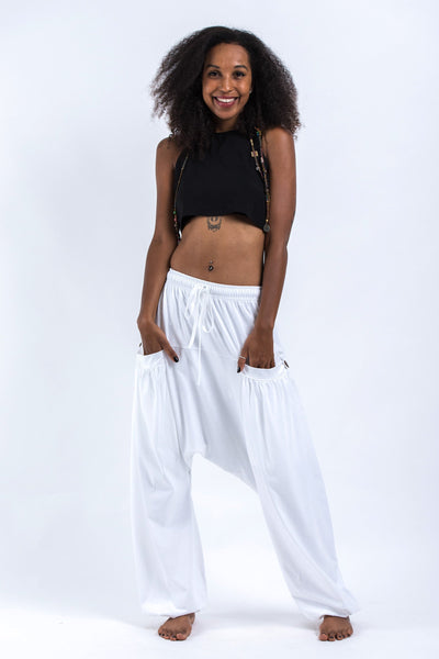 Cotton Women Harem Pants in Solid White