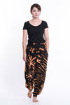 Tie Dye Cotton Women Harem Pants in Black  Orange