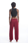 Cotton Women Harem Pants in Solid Red