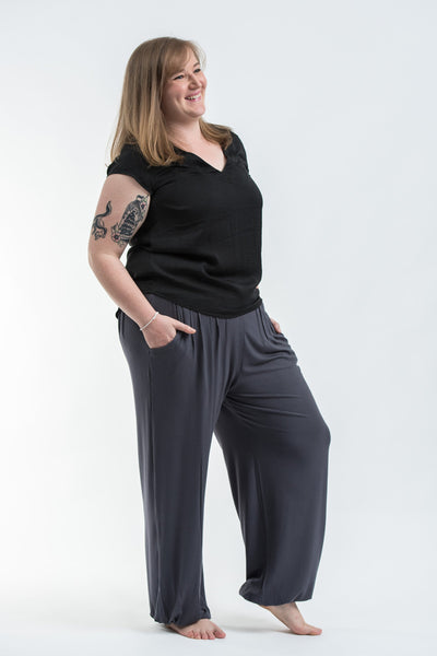 Plus Size Cotton Women Harem Pants in Solid Gray