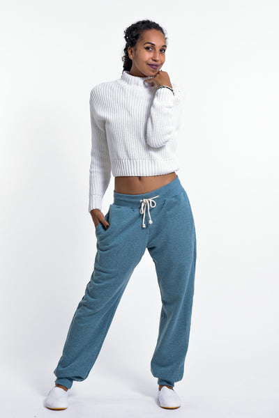 Women's Terry Pants with Aztec Pockets in Blue