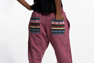 Women's Terry Pants with Aztec Pockets in Red
