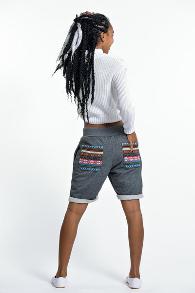 Women's Terry Shorts with Aztec Pockets in Black
