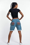 Women's Terry Shorts with Aztec Pockets in Blue
