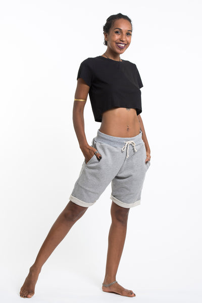 Women's Terry Shorts with Aztec Pockets in Gray