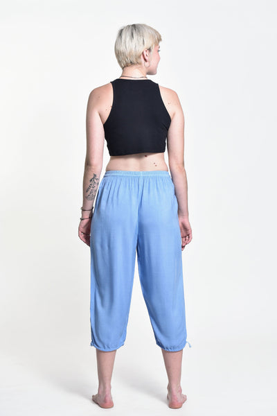 Women's Drawstring Yoga Massage Cropped Pants in Blue