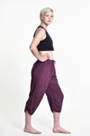 Women's Drawstring Yoga Massage Cropped Pants in Dark Purple