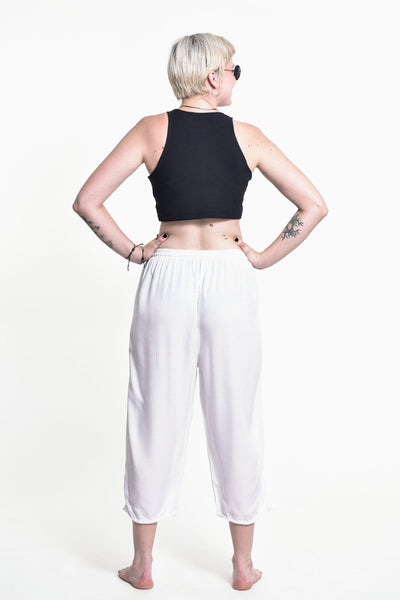Women's Drawstring Yoga Massage Cropped Pants in White