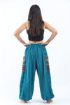 Women's Drawstring Pinstripes Cotton Pants with Aztec Pocket in Turquoise