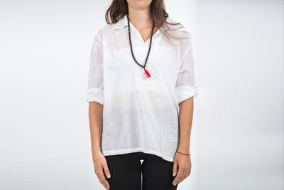 Womens Yoga Shirts Collar V Neck in White