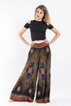 Peacock Eyes Palazzo Style Harem Pants in Black