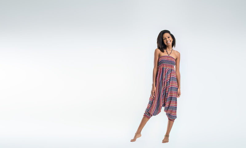 Aztec Stripes Jumpsuit Harem Pants in Peach