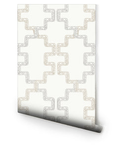Wallpaper Relativity Aztec White Neutral Gray Beige Wallpaper Removable