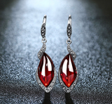 Vintage Natural Chalcedony & Garnet Gemstone Earrings