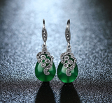 Vintage Earrings with Chrysoprase, Sapphire and Garnet Precious Gemstones