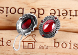 Retro Red Garnet Clip Earrings