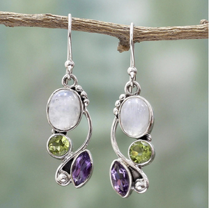 Silver Moonstone Drop Earrings