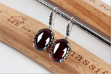Vintage Earrings with Deep Red Garnet Precious Stones