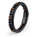 Mala Bracelet with Tiger Eye and Volcanic Lava Natural Stones