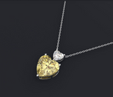 Love Heart Pendant Necklace with Citrine and Pink Sapphire Precious Gemstones