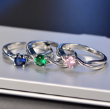 Classic Rings with Emerald, Pink and Blue Sapphire Precious Stones