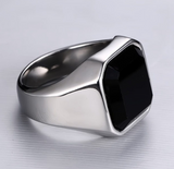 Dignified Black Carnelian Signet Ring