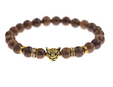 Leopard Head Beaded with Natural Stones Bracelet