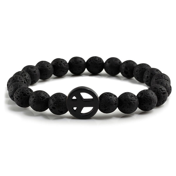 Mala Bracelet with Natural Volcanic Lava Stones and Peace Symbol