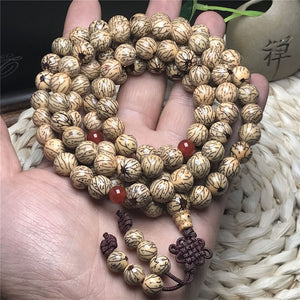 Mala - Bracelet or Necklace with Natural Golden Silk Bodhi Seeds