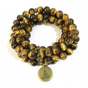 Mala - Bracelet or Necklace with Natural Tiger Eye Stones
