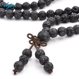 Mala - Bracelet or Necklace with Natural Lava Healing Stones