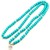 Mala - Bracelet or Necklace with Turquoise Howlite Natural Stones