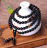 Mala - Bracelet or Necklace with Tiger Eye and Obsidian Stones