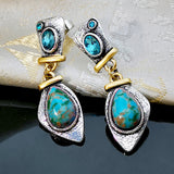 Retro Water Drop Turquoise Dangle Earrings