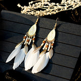 Bohemian Feather Tassel Earrings