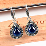 Vintage Drop Earrings with Blue Sapphire, Ruby Red and Black Chalcedony Precious Stones