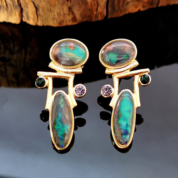 Ethnic Green Opal Stone Earrings